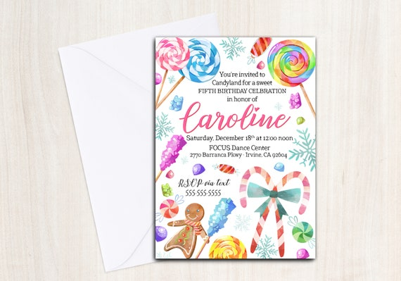 Candyland Birthday Party Invite - Personalized Invitation