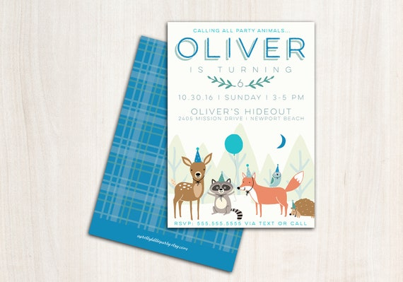 Woodland Blue Party Animals Invitation - Woodland Party Animals with Hats  - Printable Party Supplies