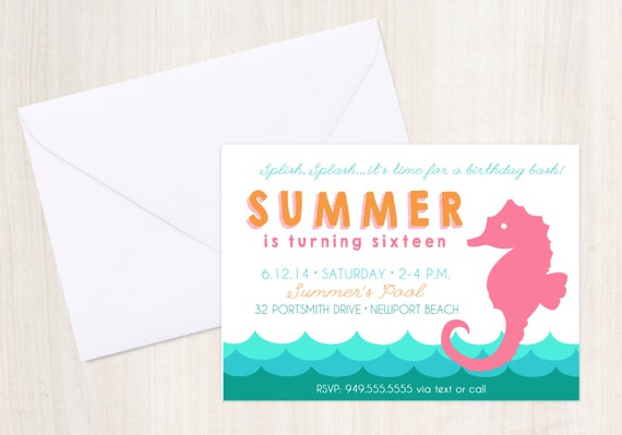 Seahorse Pool Party Birthday Invite - Seahorse Party Invitation - Nautical  - Party Supplies