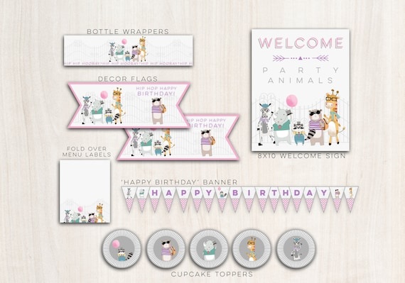 Hipster Zoo Animals Party Pack Girls  - Animal Zoo Party Party Supplies - INSTANT DOWNLOAD