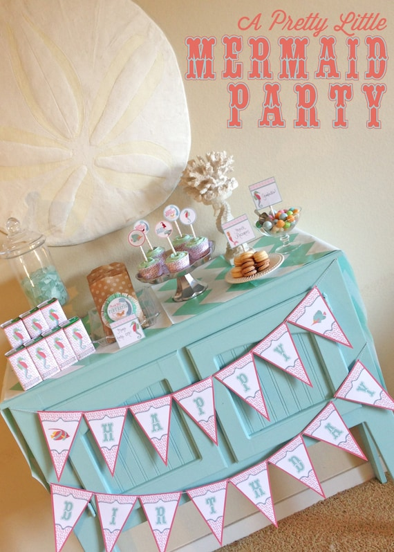 MERMAID Party Pack - Girls - Digital files - Party Supplies - INTANT DOWNLOAD