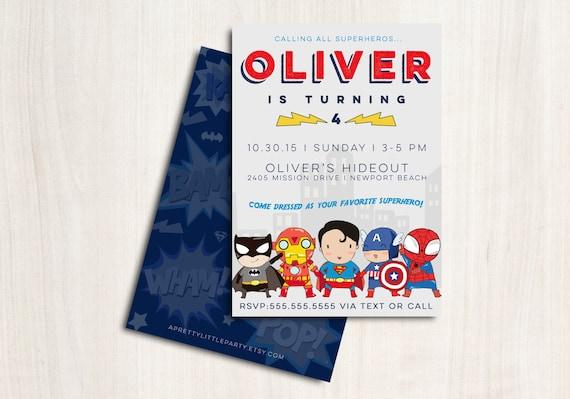 Superhero Invite for boys - Superheroes Avenger Birthday Party Invitation