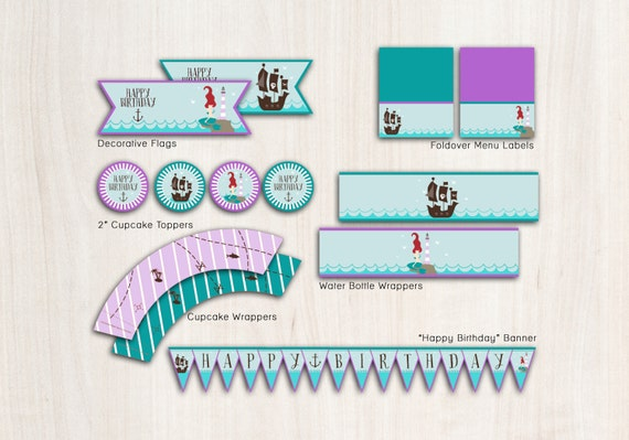 Mermaid & Pirate Birthday Party Pack in purple - Pool or Beach Party Supplies - INSTANT DOWNLOAD