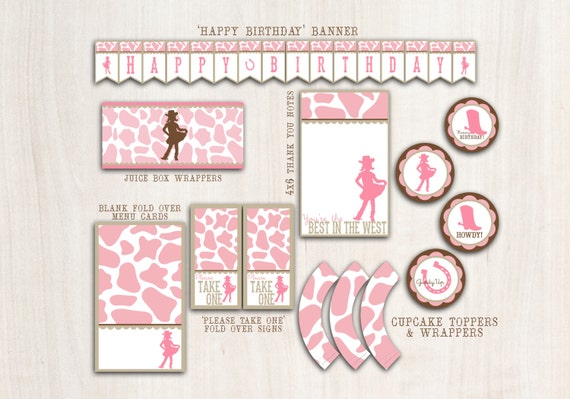 Cowgirl Birthday Party Pack  - Western Party Supplies - INSTANT DOWNLOAD