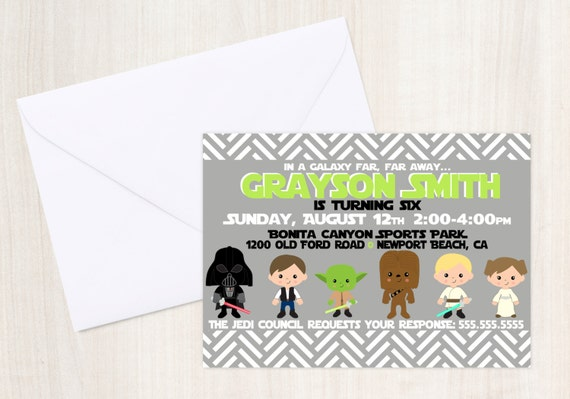 Star Wars Custom Birthday Invite - Star Wars Party Invitation - Party Supplies