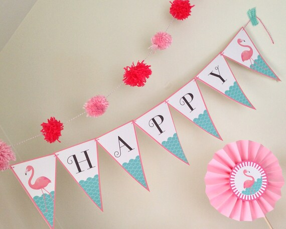 FLAMINGO Birthday Banner  - Digital files - Party Supplies - INSTANT DOWNLOAD