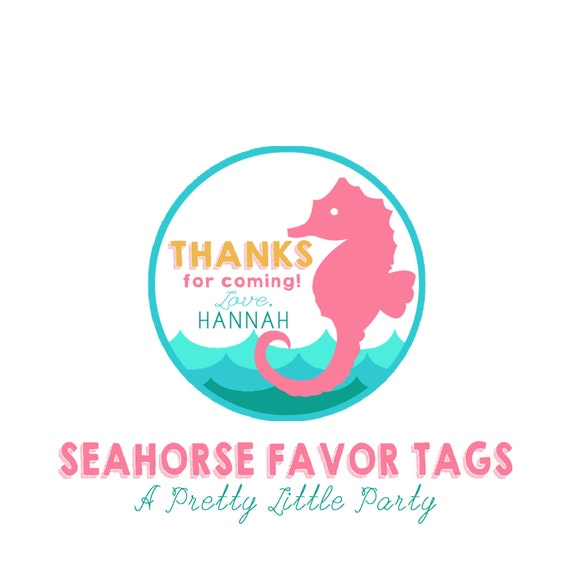 Seahorse Favor Tags - Pool or Beach Party - Party Supplies