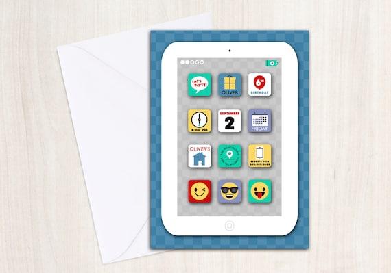 IParty Invitation IPad IPhone Emoji And Tablet Birthday
