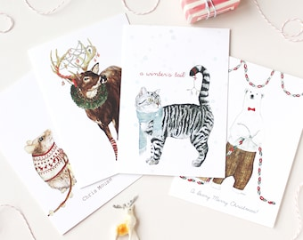 Mister Peebles Christmas Card Pack   Holiday Card Pun Pack   Funny Christmas Cards   Christmas Animal Illustrations