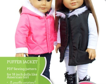 Puffer Jacket and Vest Bundle Doll Clothes Pattern for 18 inch American  Girl Dolls - PDF - INSTANT DOWNLOAD fb14c8b79