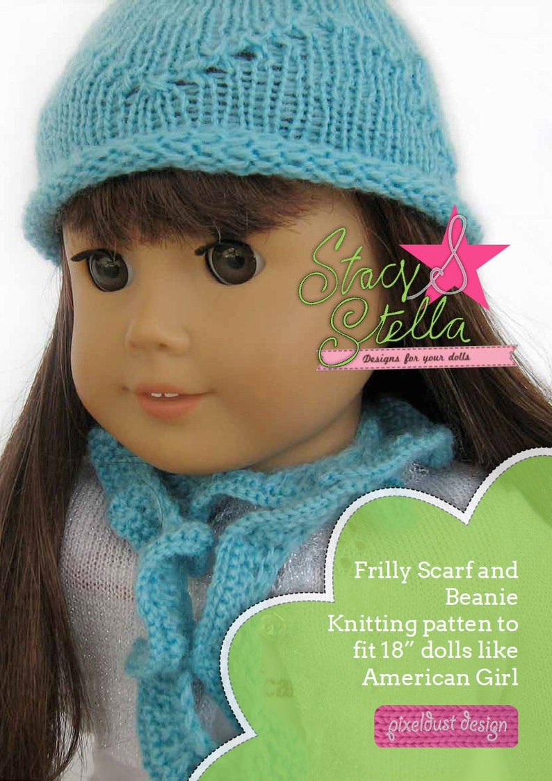 Beanie And Frilly Scarf Knitting Pattern For American Girl 18 Etsy