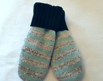Sweater Mittens ~ Felted Sweater Mittens ~ Recycled Sweater Mittens ~  Fleece Lined  ~ Women's  Mitten