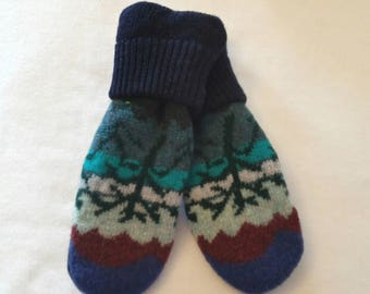 Sweater Mittens ~ Felted Sweater Mittens ~ Felted Wool Mittens ~ Recycled Sweater Mittens ~  Fleece Lined  Mittens ~ Women's  Mitten
