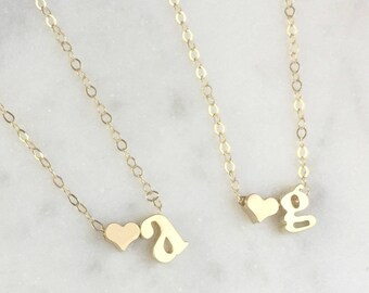 Personalized Initial Heart Necklace, Gold Heart Necklace, Best Friends Jewelry, Bridal Gift, Bridesmaid Necklace, Kid's Initial Necklace