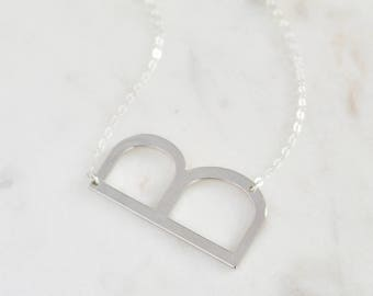 silver oversized letter b necklace big letter b necklace alphabet necklace large initial necklace letter alphabet sideways initial