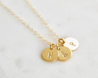 Girlfriend Necklace, Monogram Necklace, Name Necklace, Gift for Mom Gift for Wife Kid's Inital Necklace Gold Necklace Friendship Necklace