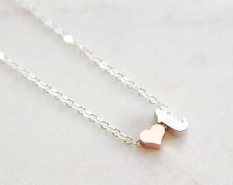 silver initial t necklace lowercase initial heart necklace t charm necklace rose gold heart gift for her monogram necklace letter t