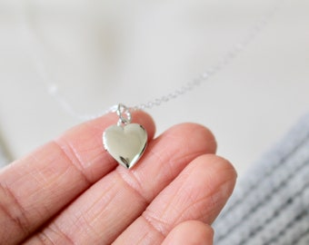 Silver Heart Locket Necklace, Mother's Day Gift, Heart Charm Necklace