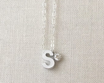 Initial Necklace | CZ Initial Necklace | Silver Letter Necklace |Personalize Jewelry | Bridesmaids Gift | Birthday Gift | ALL LETTERS