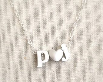 Initial Heart Necklace, Two Letter Necklace, Couples Necklace, Kid's Initial Necklace, Engagement Gift, Personalized Initial Jewelry