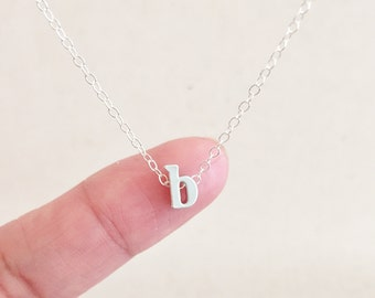 lowercase letter b necklace initial b necklace letter b charm letter b pendant personalized necklace birthday gift dainty necklace