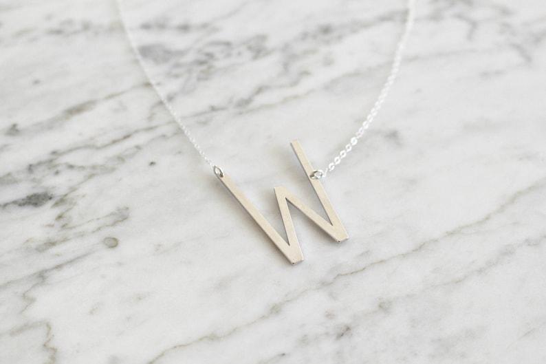 Letter Alphabet Silver Oversized Letter W Necklace Large Initial Necklace Alphabet Necklace Sideways Initial Big Letter W Necklace