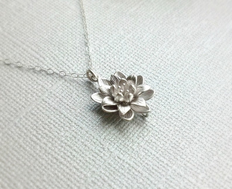 Silver Lotus Flower Necklacesimple Everyday Necklacesterling Etsy