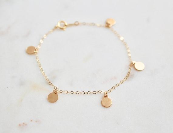 Gold Gold Münze Armband 14 K Gold Gefüllt Armband Etsy