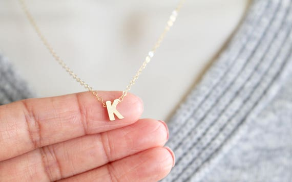 Gold Initial K Necklace Small Letter K Necklace Silver | Etsy
