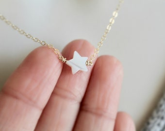 Pearl Star Necklace | White Star Necklace | Dainty Star Necklace | 14k Gold Filled | Sterling Silver | Layering Necklace | Christmas Gift