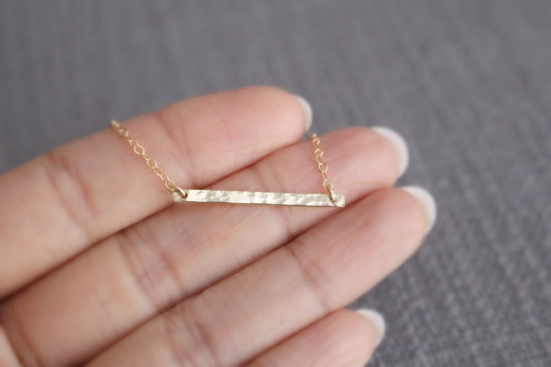 14K Gold Filled Necklace Gift For Mom Birthday Gift Gold Hammered Bar Necklace Gold Bar Necklace Best Friends Gift Everyday Necklace