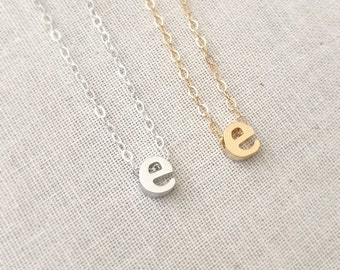 Initial E Necklace, Letter e Necklace, Initial Letter Necklace, Lowercase Letter Neckalce,Personalize Necklace, Gift For Her