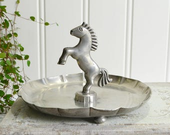 Awesome Art Deco Horse Home Decor , 1934 Pewter Decoration, Vintage Swedish ,  Please View Details.