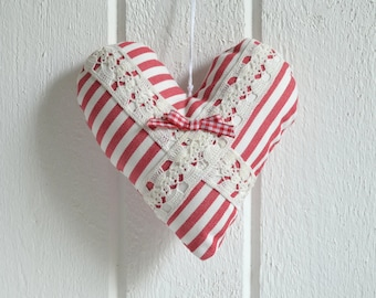 Cottage heart fabric red white  Christmas ornament decoration