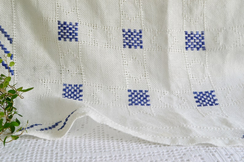 vintage Swedish embroidery White and Marine Blue linen tablecloth