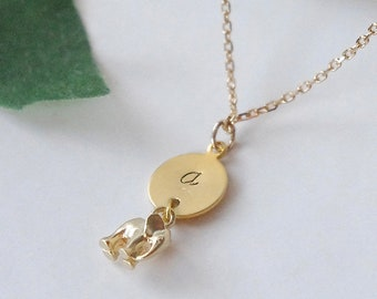 Elefant halsband med gold filled kedja, Doppresent, namngivningspresent