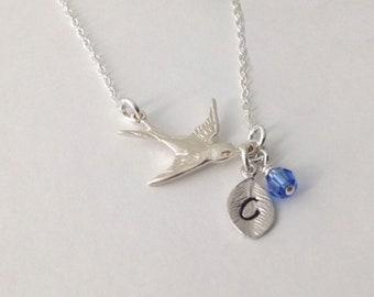 Flygande fågel halsband löv månadssten sterling silver 925