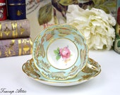 Paragon Pale Blue Teacup and Saucer With Pink Rose, English Bone China Double Warrant Tea Cup, Cabinet Teacup, ca. 1952-1960