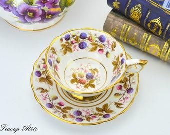 Royal Stafford Golden Bramble Teacup and Saucer, Vintage English Bone China Tea Cup,  ca. 1950