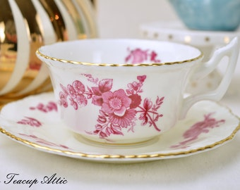 Coalport Red And White Vintage Teacup and Saucer, Antique Cabinet Tea Cup Set, English Bone China Dinnerware, ca. 1926