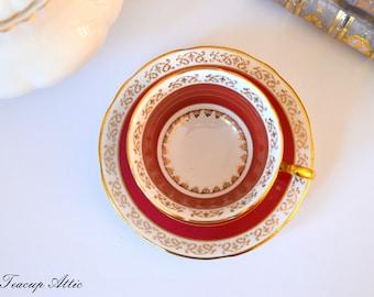 Royal Stafford Red Teacup and Saucer, Vintage English Bone China Tea Cup, ca. 1950