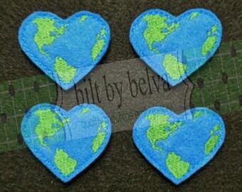 Pre-cut Felt Embellishments - Felty Feltie for Hair Bows, Clips & More - Earth Heart