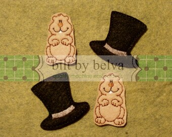 Four Pre-cut Felt Embellishments - Felty Feltie for Hair Bows, Clips & More - Groundhog Top Hat