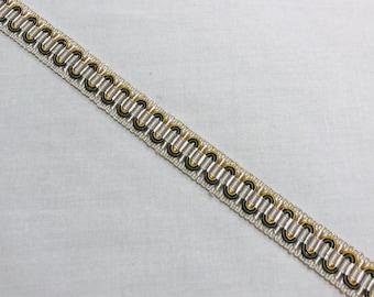 A Silver Grey Scroll FRENCH PASSEMENTERIE  Silk Galon BRAID Gimp Trim Fringe Retails 98.00 yd 1 Wide Below Wholesale 4.3 yds