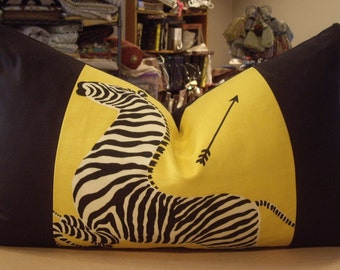 """One Large Scalamandre Yellow """"ZEBRAS"""" Printed Linen Cotton Custom Bolster Pillow - 15"""" by 27"""" - Left Facing Pillow - One Available"""