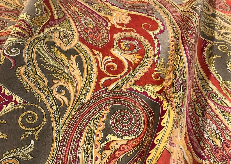 Retails 436.00 yd Below Wholesale 8014146-24 Brunschwig /& Fils Tumeric PORTMORE Paisley Print Italian Cotton Velvet Fabric 1.9 yds