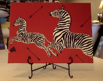 """One Large Scalamandre Masai Red """"ZEBRAS"""" Custom Designer Fabric Artwork & Easel - 18"""" by 24"""" - Can Be Used As A Wall Hanging - One of a Kind"""