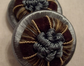 """One Pair Wedgewood & Chocolate """"GANACHE"""" French Passementerie Rosette Trim - 3 Pairs Available - Free Shipping"""