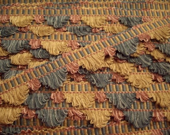 French Rose Peacock & Sunflower Scalloped Fan Edge PASSEMENTERIE Trim Fringe - Imported from Lyon, France - 22 yds  - FREE SHIP