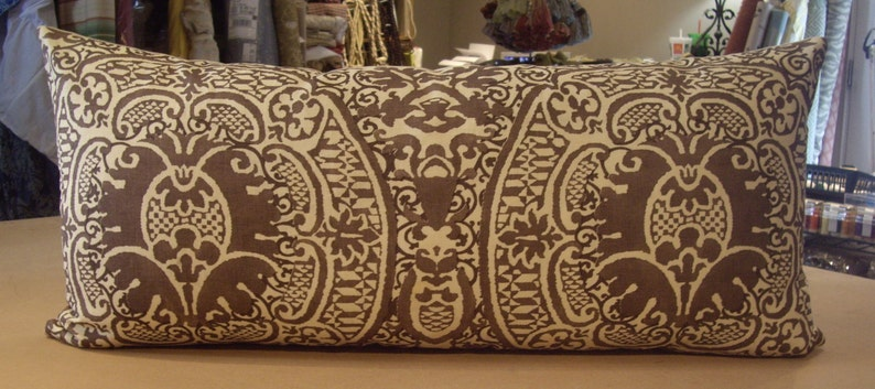 ONE LARGE Quadrille Taupe Brown VENETO Printed Linen Custom Bolster Pillow 15 by 32 One Available Vanilla Linen Cotton Back